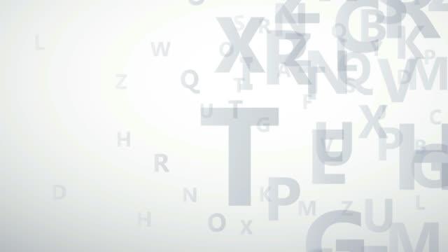 abstrakt abc alfabet på vit bakgrund, märker i stordåd. 2d-animering. loop bilder 4k - tema bildbanksvideor och videomaterial från bakom kulisserna