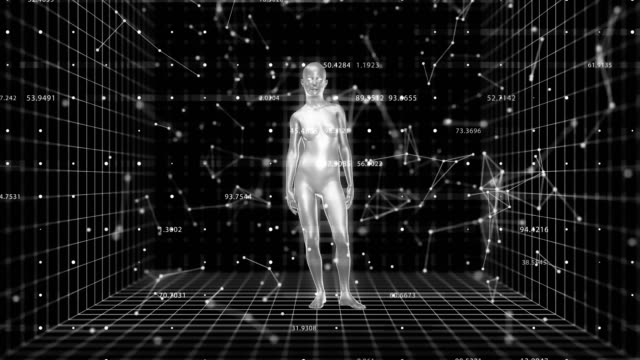 4k abstract a.i. artificial intelligence with a female form. - figura femminile video stock e b–roll