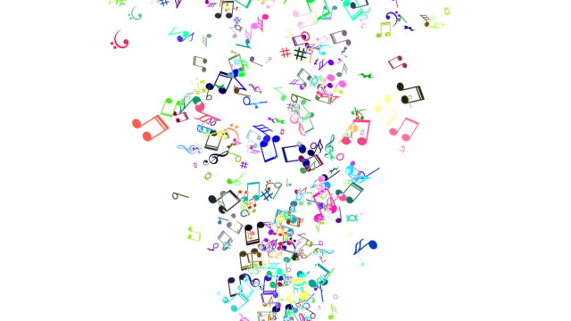 vídeos de stock e filmes b-roll de abstract animated background with colorful music notes. loop - nota