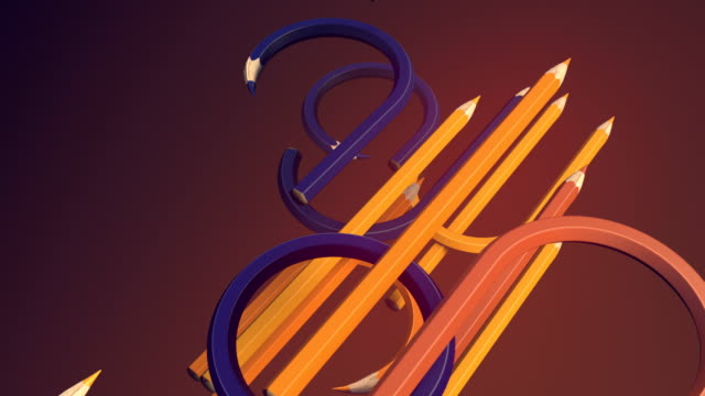 Abstract animated composition. Diagonal movement of curved colored pencils. Computer generated loop animation. Geometric pattern. 3d rendering. 4k UHD
