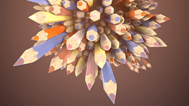 Abstract animated composition of colored pencils surrounded by light mist. Background template design. 3d rendering. HD resolution.
