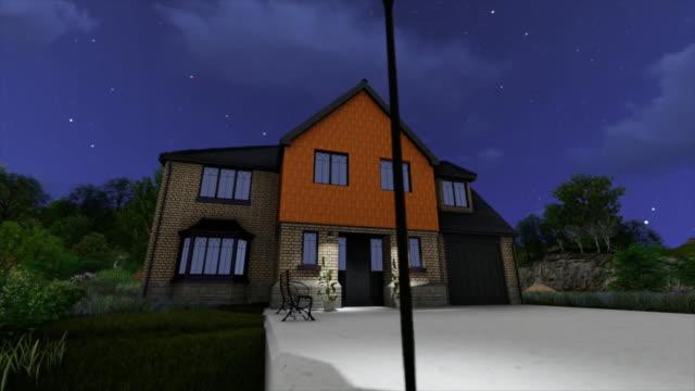 異なる気象条件で抽象的なアニメーション3Dハウスプロジェクトと周辺地域。3Dハウスビルディングコンセプト ビデオ