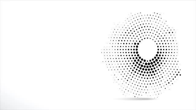 stockvideo's en b-roll-footage met abstracte animatie. zwarte stippen halftone in de vorm van een cirkel en een grote zwarte knop in het midden laten en scatter chaotisch. - halftint