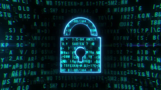 Abstract Animation Digital Padlock in Cyber Space video