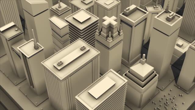 白い背景に大きな近代的な市内中心部の3D建築スケールモデルの抽象アニメーション。アニメーション。4K でレンダリングされたシンプルな 3D アニメーション ビデオ