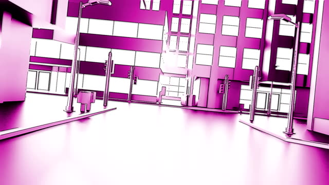 Abstract animation of a camera moving through the city buildings. Cartoon style. Looping.