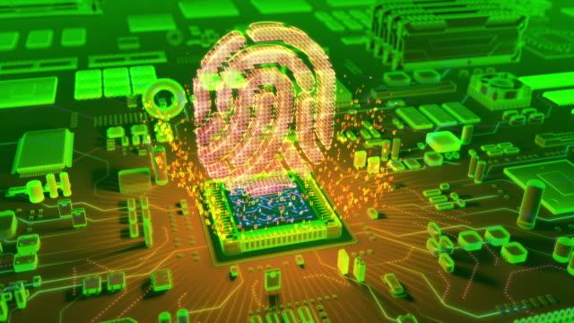 CPU から指紋アイコンの抽象アニメーション ビデオ