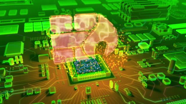 CPU からファイアウォール アイコンの抽象アニメーション ビデオ