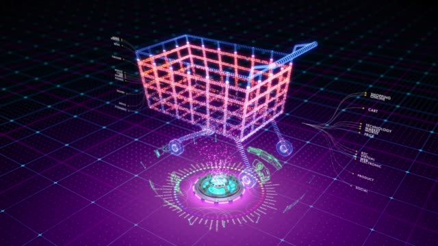 Abstract animation of a shopping cart formed by particles - vídeo