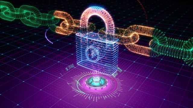 Abstract animation of chains holding locked padlock