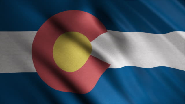 Abstract animation of Colorado State flag waving in the wind. Animation. Beautiful colorful state symbol video