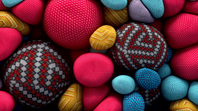 abstract animation of colored floating spheres with a knitted texture. 3d rendering - tridimensionale video stock e b–roll