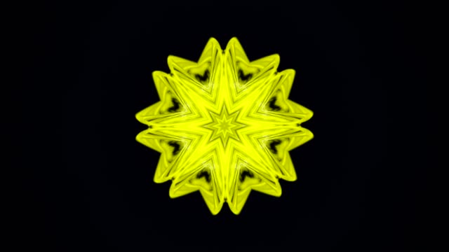 Abstract animation of geometrical shapes rotating in kaleidoscope on the black background. Animation. Hypnotic kaleidoscope with fractal colored motion