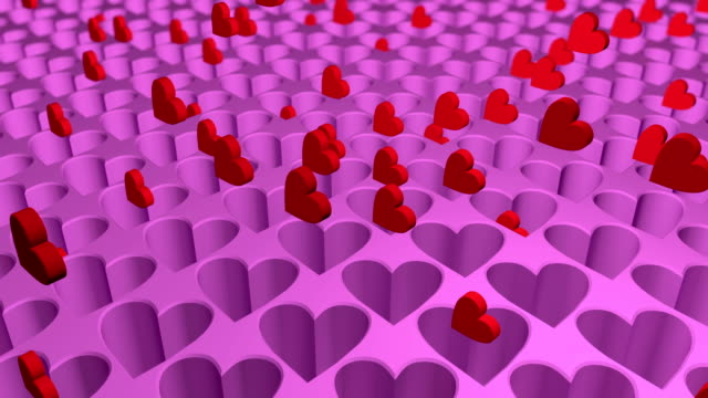 3D abstract animation of hearts motion. Looped.