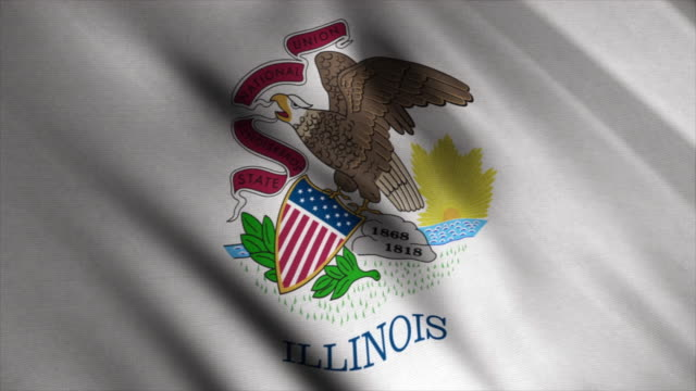 Abstract animation of Illinois-State flag waving in the wind. Animation. The flag of the state of Illinois consists of the seal of Illinois on a white background Abstract animation of Illinois-State flag waving in the wind. Animation. The flag of the state of Illinois consists of the seal of Illinois on a white background. allegory painting stock videos & royalty-free footage
