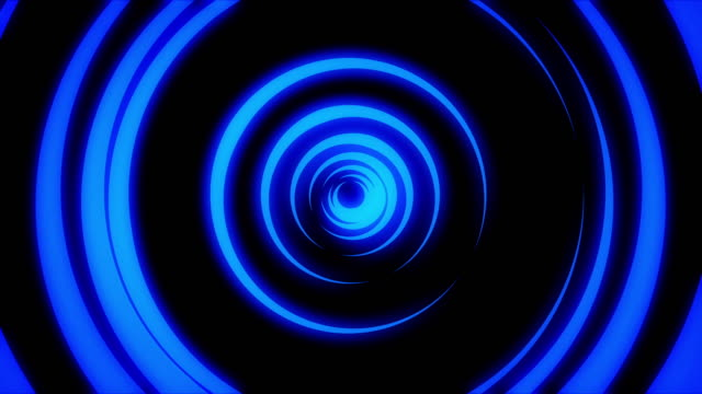 Abstract animation of light neon tunnel formed by colorful moving rings on black background. Animation. Colorful abstraction of neon circles rotating with different speed video