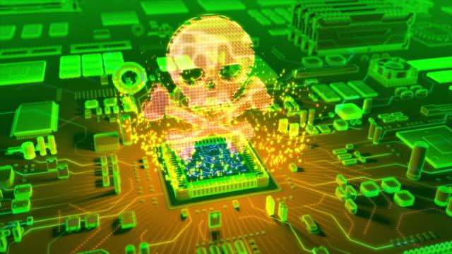 CPU から来る海賊アイコンの抽象アニメーション ビデオ