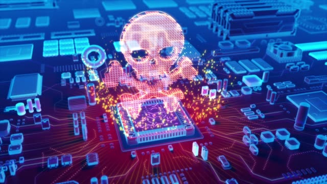 Abstract animation of Piracy icon coming from a CPU Futuristic animation of holographic skull and bones symbol emerging from microprocessor on electronic circuit board identity theft stock videos & royalty-free footage