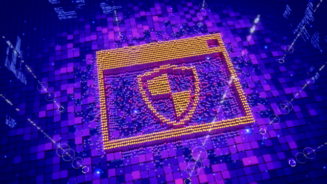 abstract animation of pixels forming an icon of network firewall shield - antivirus video stock e b–roll