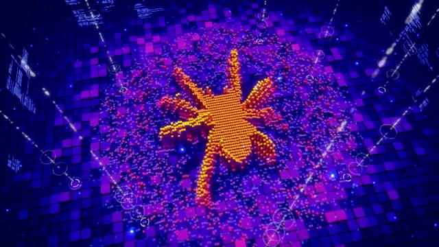 歩く蜘蛛のアイコンを形成するピクセルの抽象アニメーション ビデオ