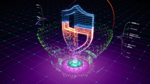 Abstract animation of protective shield formed by particles Particles form an icon of a shield surrounded by defensive field. Great animation to be used with data access and protection related media. shield stock videos & royalty-free footage