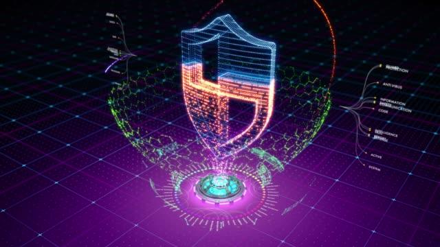 vídeos y material grabado en eventos de stock de animación abstracta de escudo protector formado por partículas - shield
