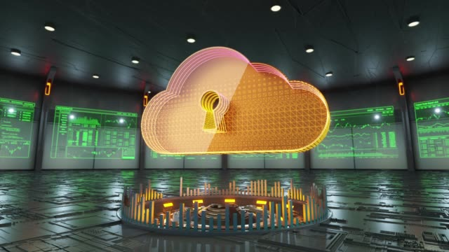 Abstract animation of secure cloud computing icon in virtual cyber room video