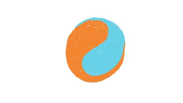 animazione astratta di due colori - due oggetti video stock e b–roll