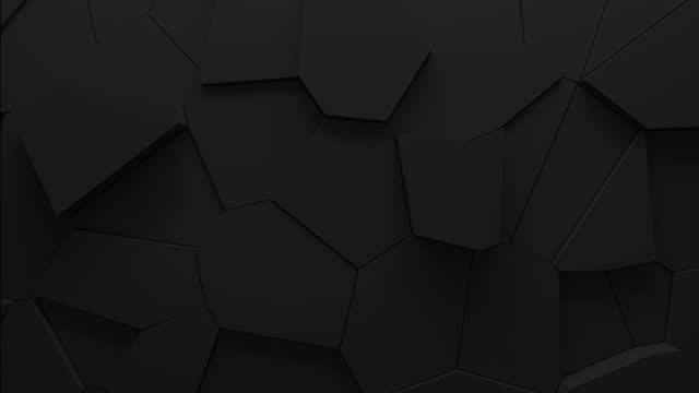 Abstract animation of voronoi blocks moving and extruding. Minimal dark clean corporate background. 3D geometric wall loop motion. Polygonal elements cycling displacement video.