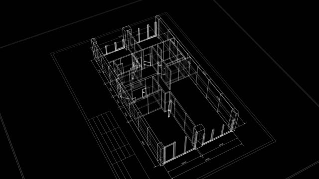 abstract apartments building process on black background. last turn is loop-able. looped 3d animation of rotating blueprint in grid mesh. construction business concept. - в сеточку стоковые видео и кадры b-roll