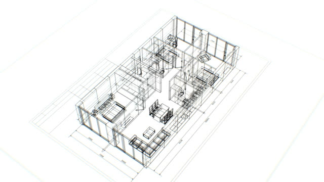 Abstract Apartments Building Process with Furniture on White Background. Last Turn is Loop-able. Looped 3d Animation of Rotating Blueprint. Construction Business Concept.