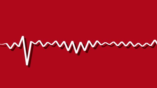明るい背景赤影の可聴周波スペクトル イコライザー単一行を抽象化します。 - 音波点の映像素材/bロール