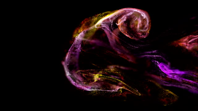 abstract backgraund of fluid particles.slow motion on beatiful relaxing background. - in cima video stock e b–roll