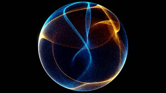 vídeos de stock, filmes e b-roll de abstrato 3d digital onda de partículas brilhantes e wireframe. explosão de partículas brilhantes. estilo de fundo de tecnologia futurista. - esfera