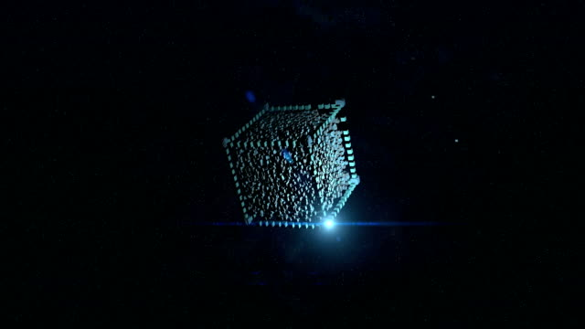 abstract background. flying cube in space. - simbolo concettuale video stock e b–roll