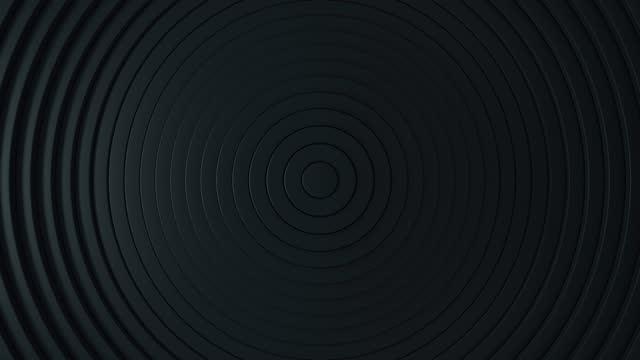 ビジネスプレゼンテーションの抽象的な背景。変位の効果を持つ円の抽象的なパターン。音波の動き。最小限。黒のクリーンリングアニメーション。シームレスループ4k 3dレンダリング - くるくる回る点の映像素材/bロール