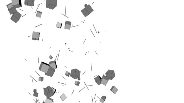 Abstract background from flowing stream of cubes and particles video