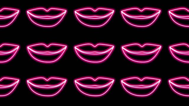 abstrakt bakgrund. looping rörelse neon glödande läppar öppna och stänga på en svart bakgrund - blåsa en kyss bildbanksvideor och videomaterial från bakom kulisserna