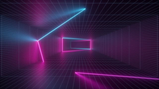abstract background, neon light inside endless tunnel, flight forward, pink blue glowing lines, looped animation