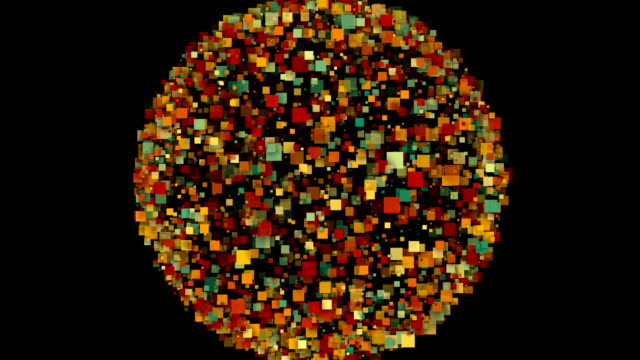 Abstract background of a sphere formed by colorful squares video