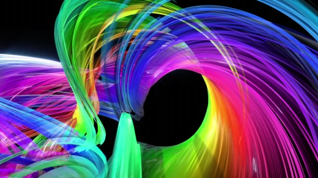 abstract background of transparent beautiful ribbons moving in circle, twisted lines, looped 3d animation with rainbow gradient colors transitions in glass ribbon. Close up 13 video