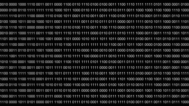Abstract background or foreground with binary code. Digits 0 1 changes randomly. Alpha channel transparent background.