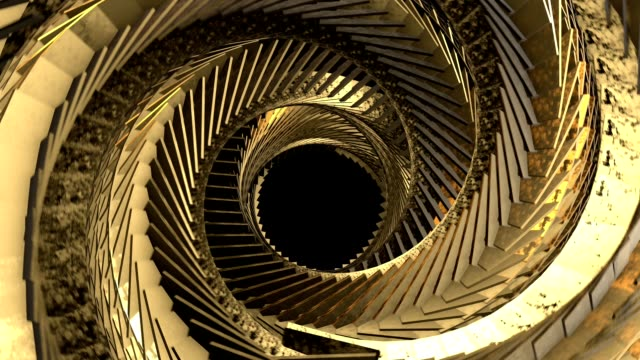 Abstract Background 3d render abstract gold spiral tunnel - Dynamic background for scientific project. wound stock videos & royalty-free footage