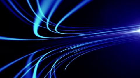 vídeos y material grabado en eventos de stock de fondo abstracto con animación movimiento de líneas de red de fibra óptica. magia parpadeo puntos o brillantes líneas de vuelo. - fluir