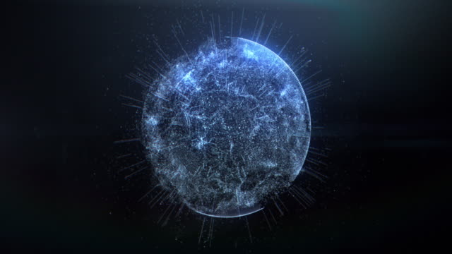 abstract background with connection dots. digital sphere - tridimensionale video stock e b–roll
