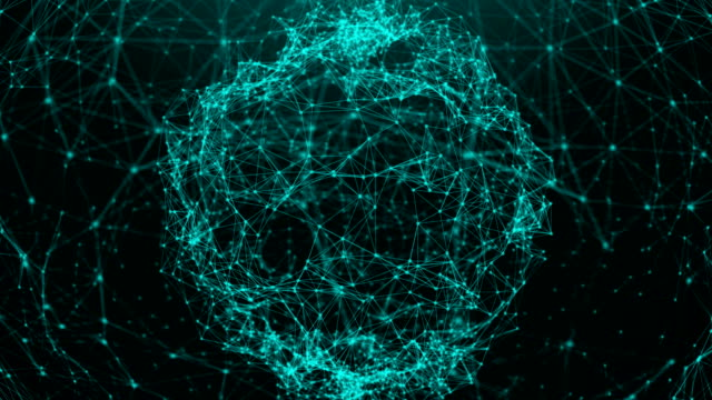 Abstract background with connection dots. Digital sphere video