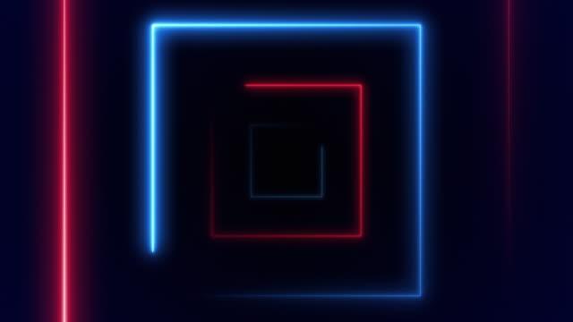 abstrakt bakgrund med fiber optisk linje glödande torg vj ljus. (loopable) - designelement bildbanksvideor och videomaterial från bakom kulisserna