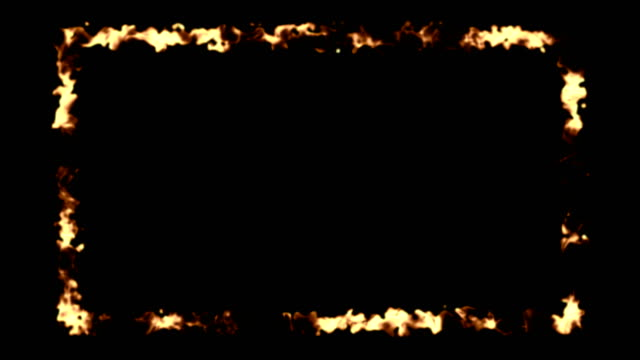 Abstract background with fire frame on black backdrop video
