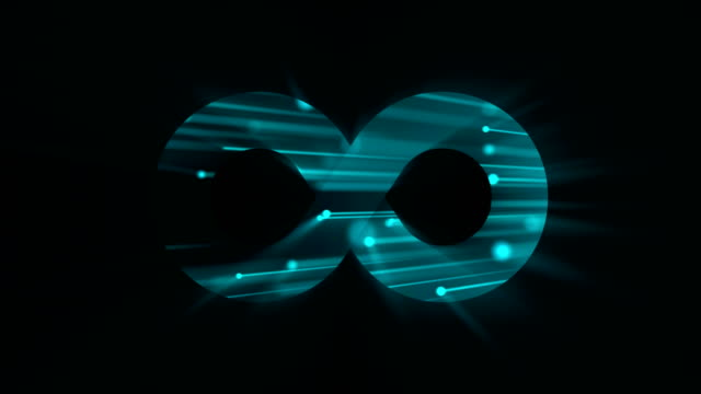 Abstract background with futuristic infinity sign. Digital background video