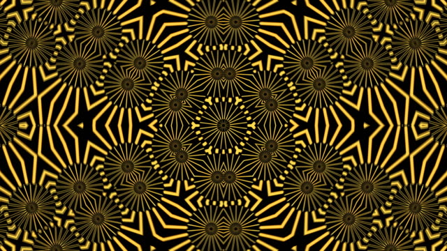 vídeos de stock e filmes b-roll de abstract background with gold kaleidoscope - mandala